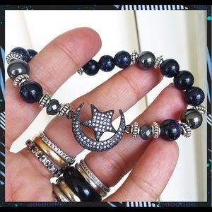 Silverskylight Jewelry - Midnight sunstone black rodhium cz moon & star